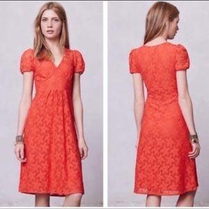 Anthropologie Leifnotes Orange Dogflora Lace Dress